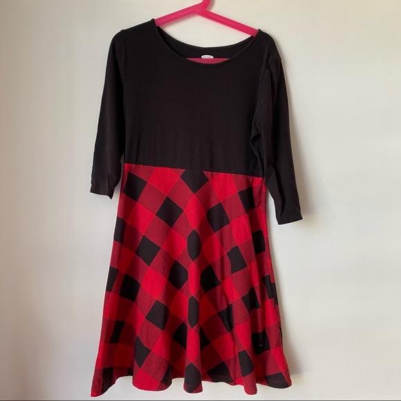 GUC Old Navy Girls Knit L Dress 10/12 Plaid Red